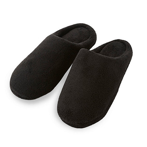 Maine New England - Black fleece mule slippers
