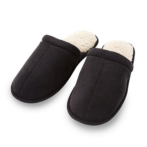 Totes - Black fleece lined mule slippers