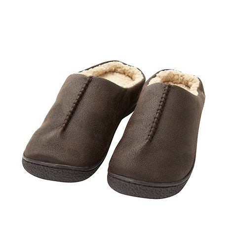 Isotoner - Dark brown fleece lined mule slippers