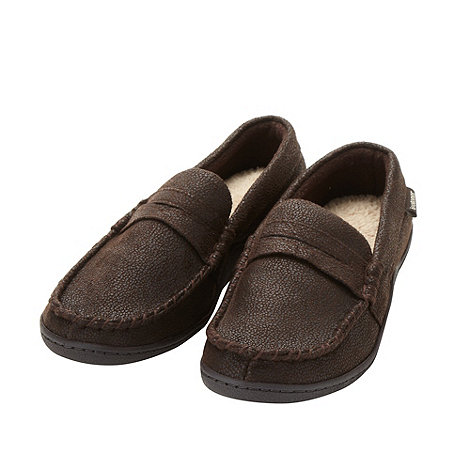 Isotoner - Dark brown fleece lined moccasin slippers