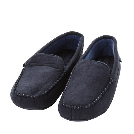 Isotoner - Navy suedette moccasin slippers