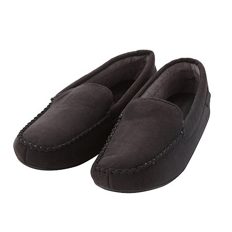 Isotoner - Black towel lined moccasin slippers