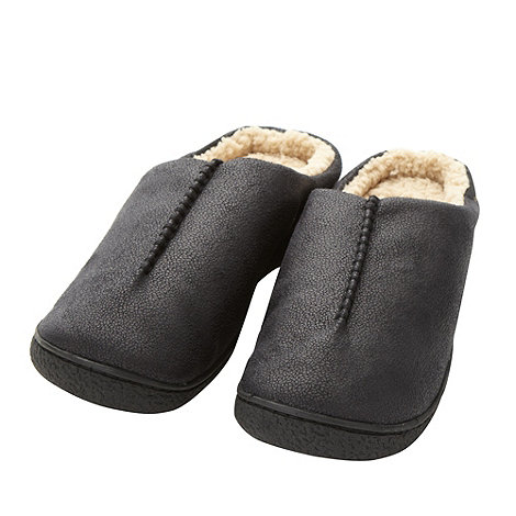 Isotoner - Black fleece lined mule slippers