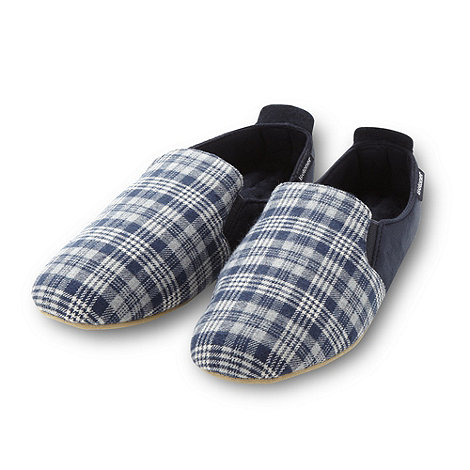 Isotoner - Navy checked front carpet slippers