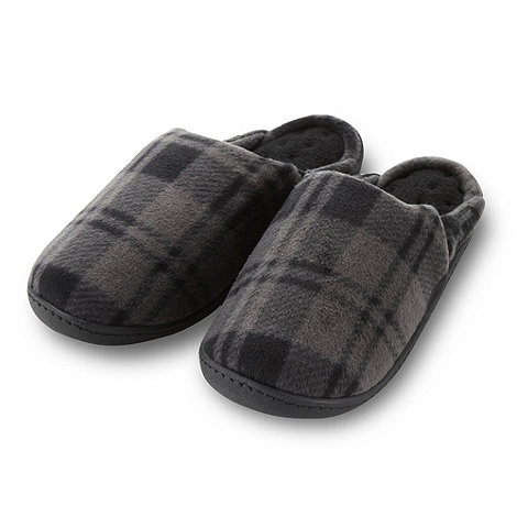 Isotoner - Grey checked mule slippers
