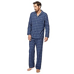 Maine New England - Big and tall blue windowpane checked pyjama set