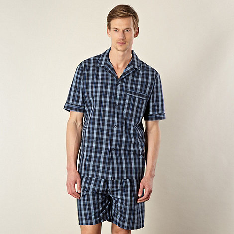Maine New England - Navy checked top and short pyjama set