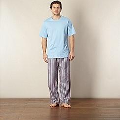 Maine New England - Blue striped short sleeve jersey pyjama set