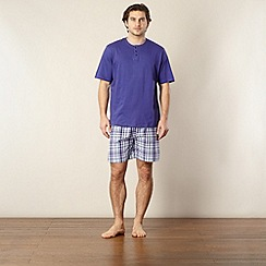 Maine New England - Purple top and checked shorts pyjama set