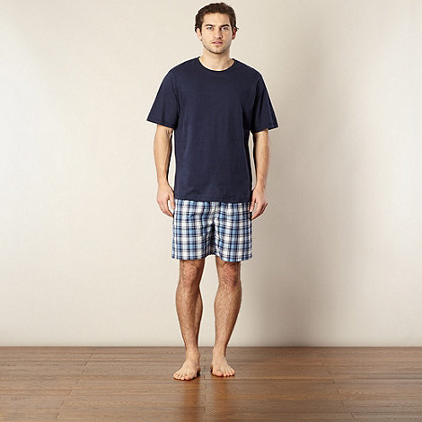 Maine New England - Navy top and checked shorts pyjama set