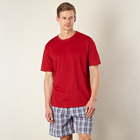 Maine New England - Red top and checked short pyjama set