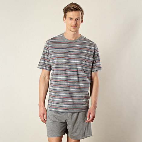 Maine New England - Grey striped top and shorts pyjama set