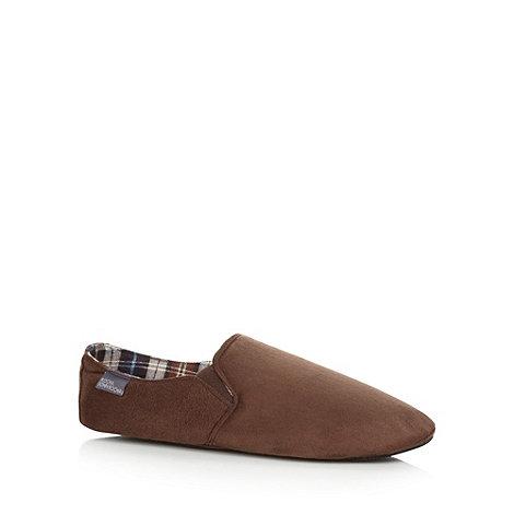 RJR.John Rocha - Designer chocolate suedette plimsole slippers