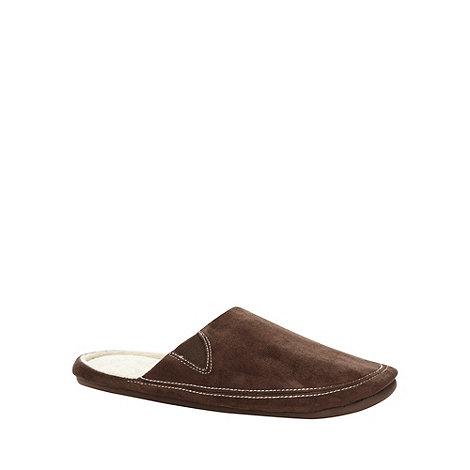 RJR.John Rocha - Designer brown contrast stitch mule slippers
