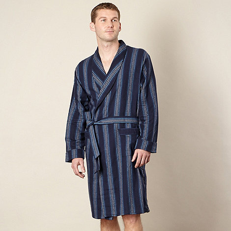 J by Jasper Conran - Designer  navy striped brushed cotton dressing gown
