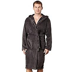 J by Jasper Conran - Designer dark grey hooded fleece dressing gown