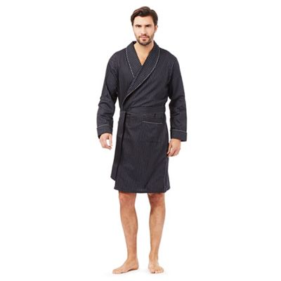 jasper conran Black satin stripe dressing gown