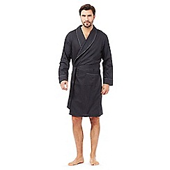 J by Jasper Conran - Big and tall designer black satin stripe dressing gown