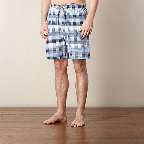 Mantaray - Blue ikat block checked shorts