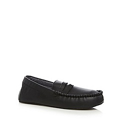 Maine New England - Black PU moccasin slippers