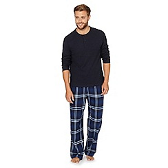 Maine New England - Navy granddad waffle knit top and checked bottoms set