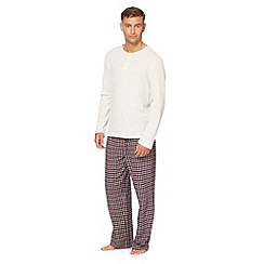 Maine New England - Natural waffle textured top and checked bottoms loungewear set
