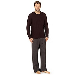 Maine New England - Wine ribbed top and waffle long bottoms loungewear set