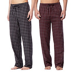 Mantaray - Pack of two black and red checked loungewear bottoms