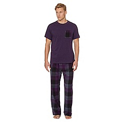 Mantaray - Purple t-shirt and brushed check bottoms loungewear set