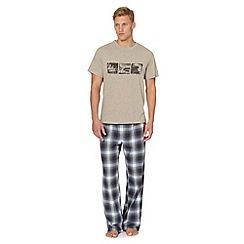 Mantaray - Natural beach print t-shirt and bottoms loungewear set