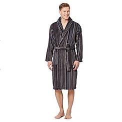 RJR.John Rocha - Designer grey striped fleece dressing gown