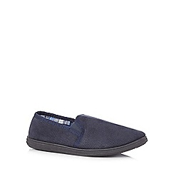 Maine New England - Navy fleece lined carpet slippers