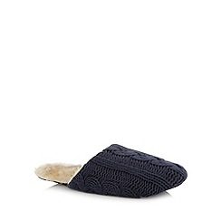 RJR.John Rocha - Designer navy cable knit faux fur mule slippers