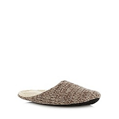 RJR.John Rocha - Designer taupe chunky knit mule slippers