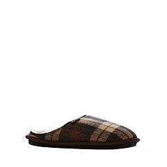 RJR.John Rocha - Designer brown checked mule slippers