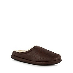 Mantaray - Chocolate distressed faux shearling lined mule slippers