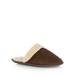 Mantaray - Brown cuffed faux shearling mule slippers