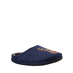 Mantaray - Navy reindeer mule slippers
