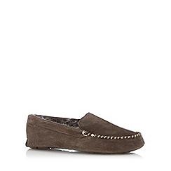 RJR.John Rocha - Designer chocolate suede fur lined slippers