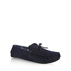 Maine New England - Navy checked lined bow moccasin slippers