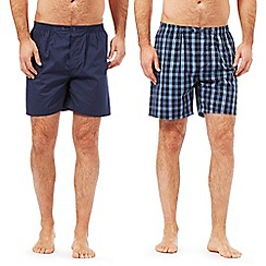 Maine New England - Big and tall pack of two navy pyjama shorts