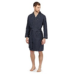 Maine New England - Big and tall navy striped lightweight dressing gown