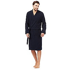 Maine New England - Big and tall navy towelling kimono dressing gown