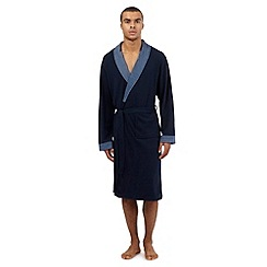 RJR.John Rocha - Big and tall designer navy contrast jersey dressing gown