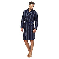 J by Jasper Conran - Big and tall designer navy striped dressing gown