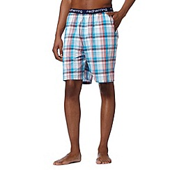 Red Herring - Turquoise checked elasticated woven pyjama shorts