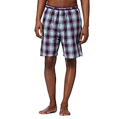 Red Herring - Purple grid checked lounge shorts