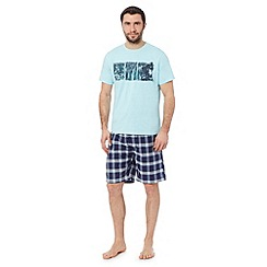 Mantaray - Light blue surf print pyjama set
