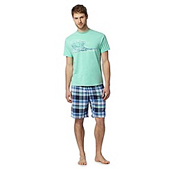 Mantaray - Light green wave print t-shirt and shorts loungewear set