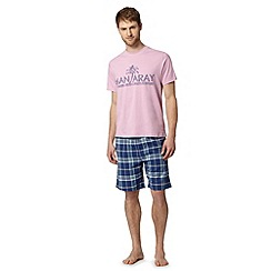 Mantaray - Pink logo printed t-shirt and shorts loungewear set
